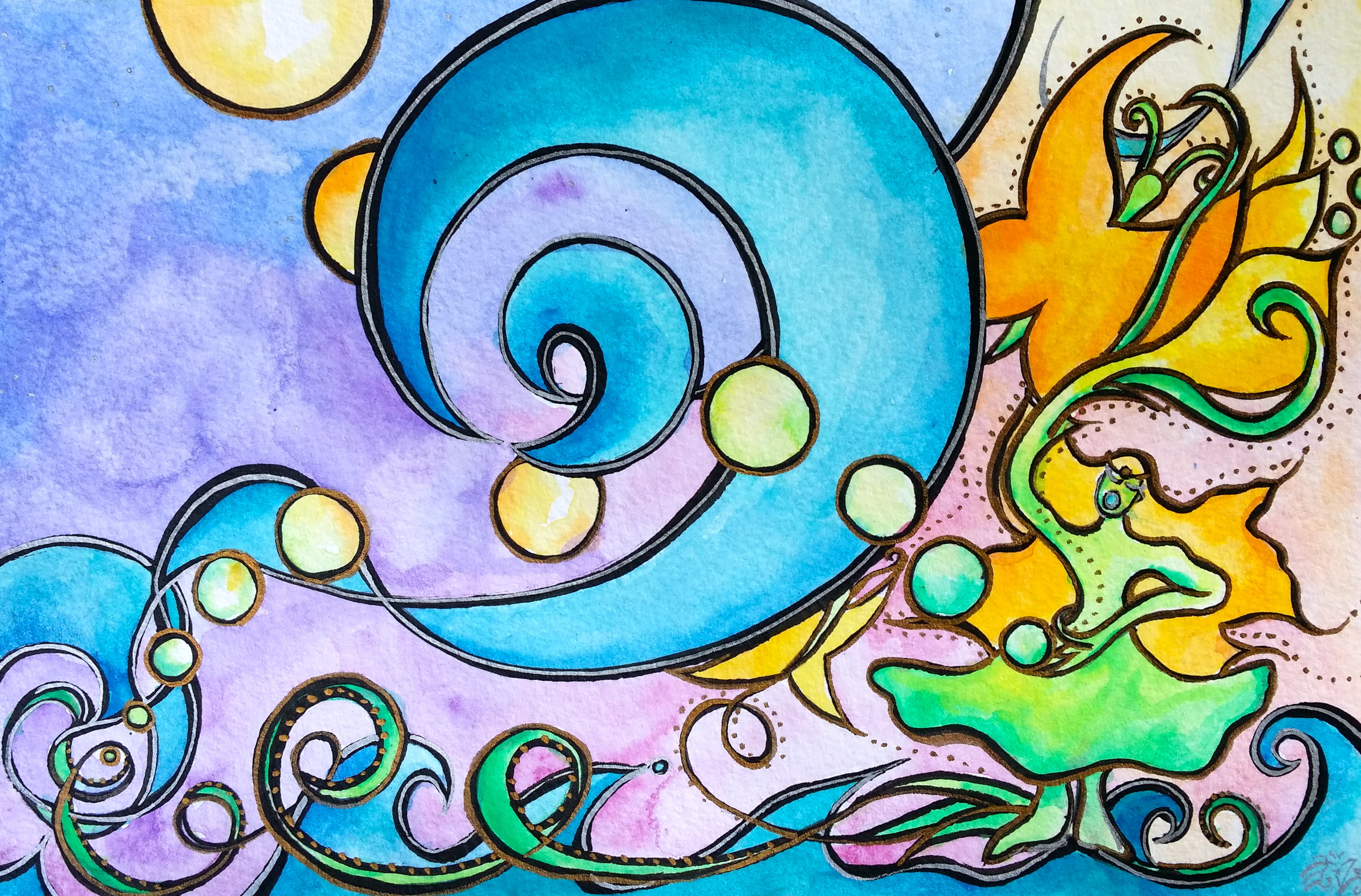 "Watercolor and ink on paper. 8"" x 5""  Order a print here."