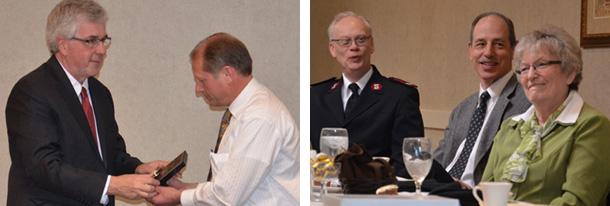 Left picture:Jim Goodling and Jon Dushaw representing the Kiwanis Club                          Right picture: Major Ron Starnes, Arthur Stewart, Barb Tubbs