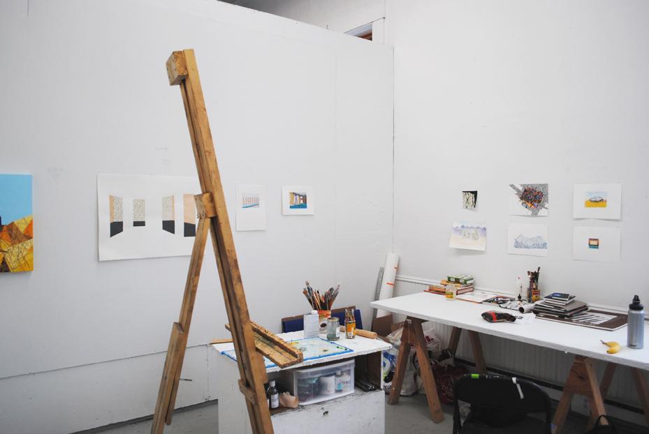 Sara Jones' studio at the Vermont Studio Center