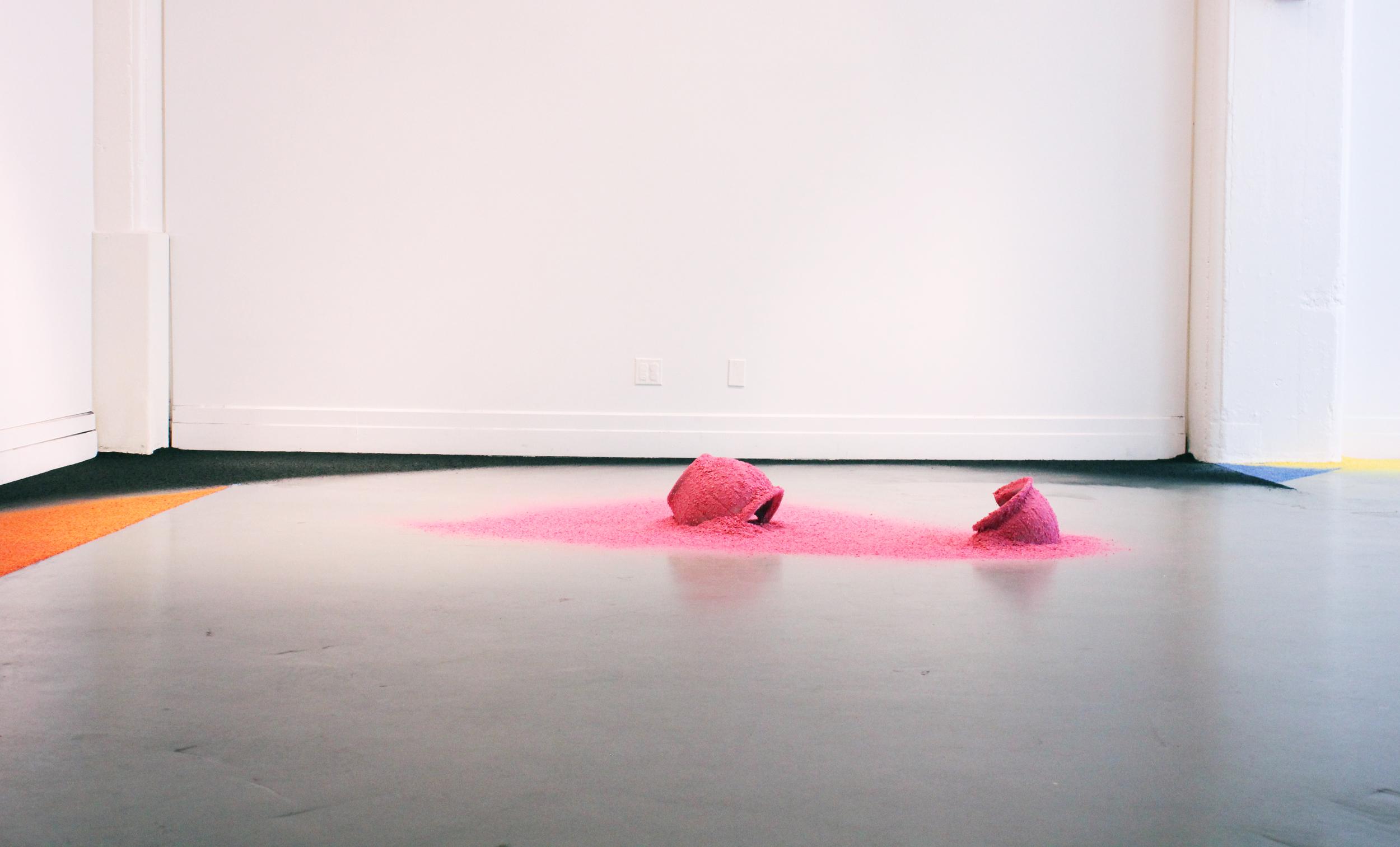 In A Landscape Anew II , 2013, Hand-shredded silk flowers Artadia Open Summer Studio Residency, Brooklyn, New York