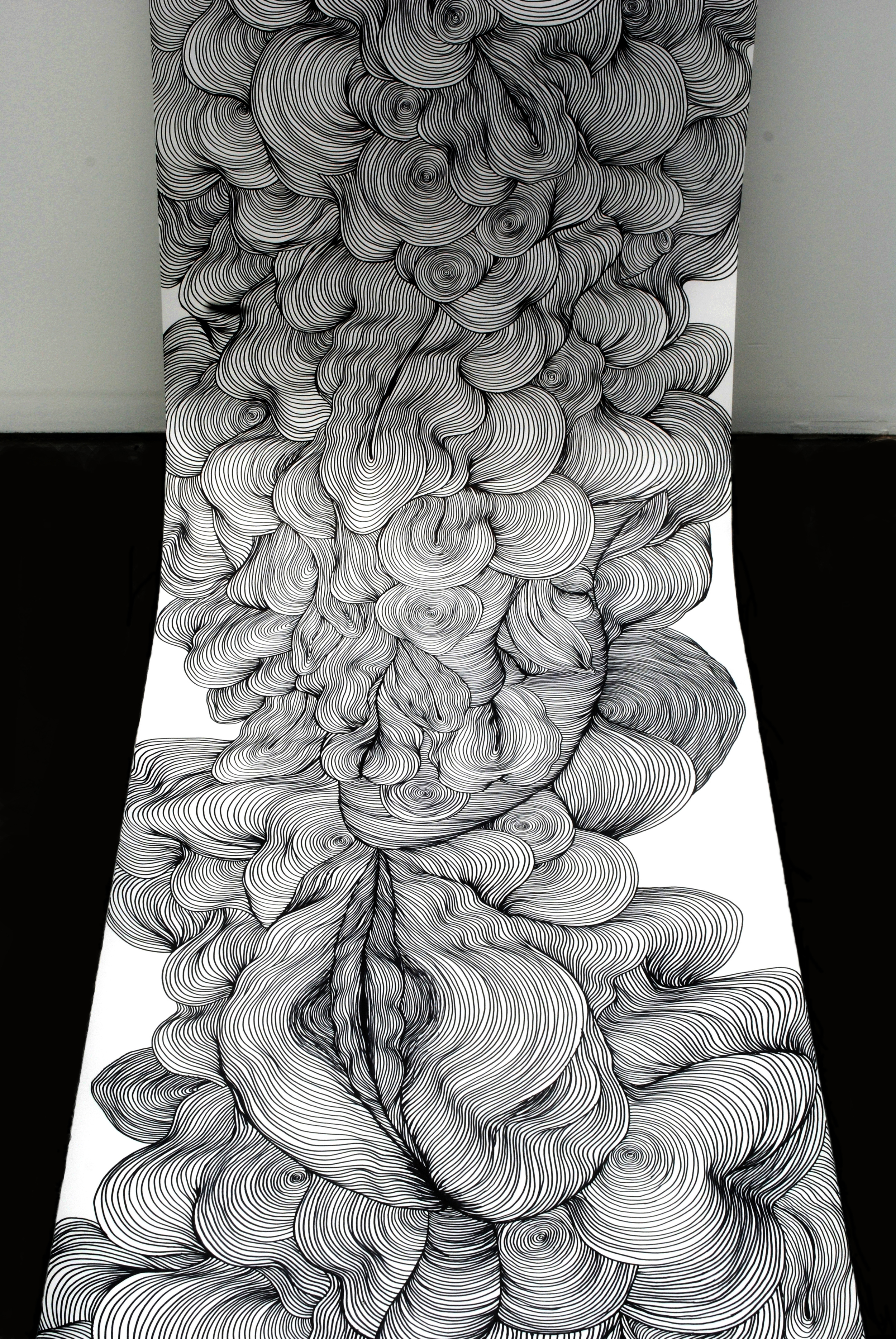 Untitled,  marker on paper, 24 inches x 10 yards, 2010