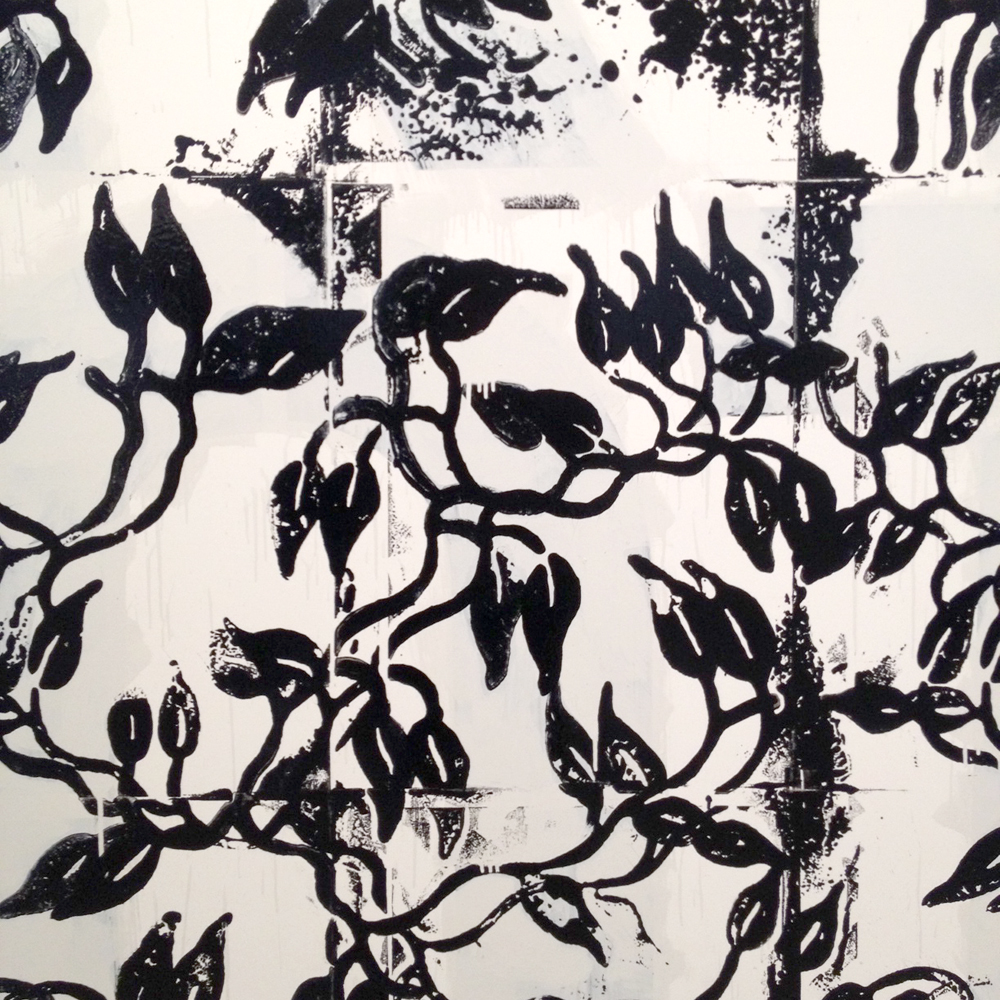 detail of  Riot , enamel on aluminum, 1989/92 by Christopher Wool on view at the Guggenheim Museum