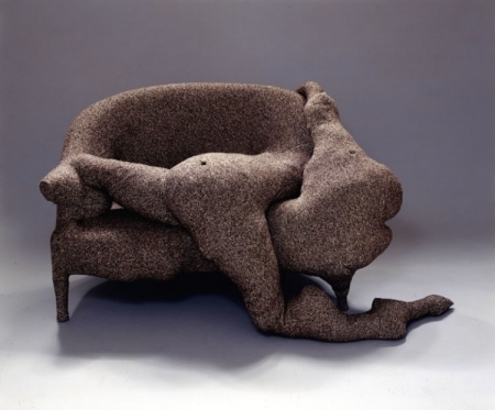 Canapé en temps de pluie (Rainy-Day Canapé)  , 1970 Tweed, upholstered wood sofa, wool, Ping-Pong balls, and cardboard, 32 1/4 x 68 1/2 x 43 1/4 in. Philadelphia Museum of Art. Anonymous gift.