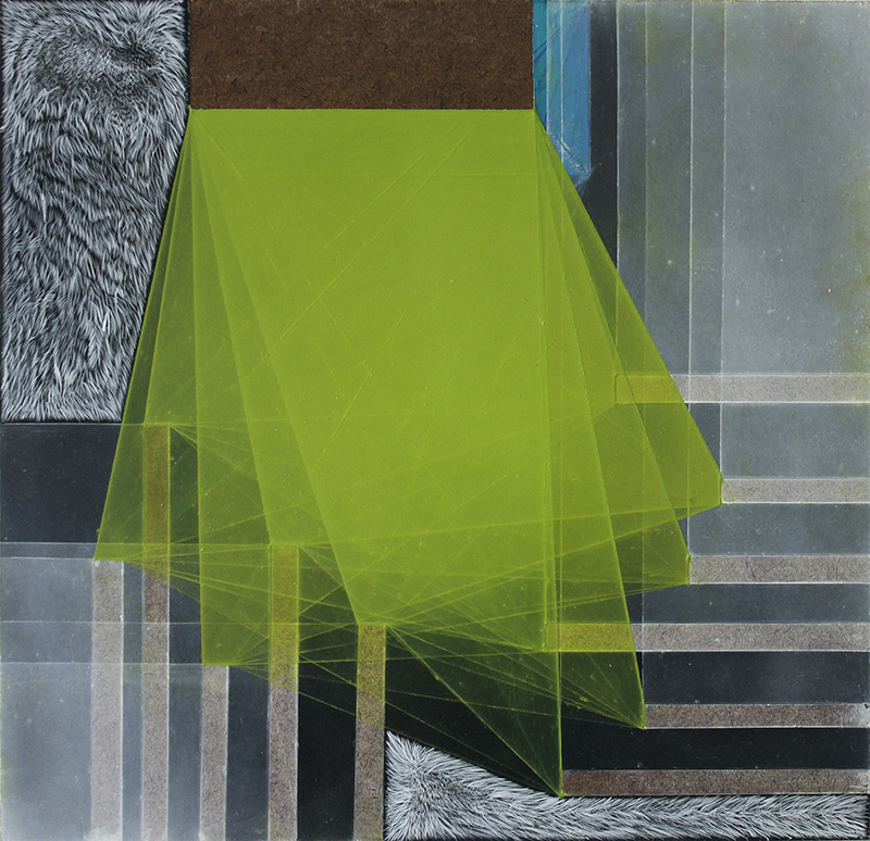 """Threshold Composition no. 6, 11.5x11.75"""", Gouache, oil and ink on panel, 2013"""