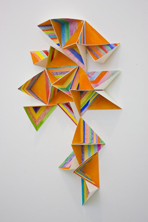 Cube Corner 1 by Alex Paik  gouache, colored pencil, paper 20 x 11 x 3 inches 2014