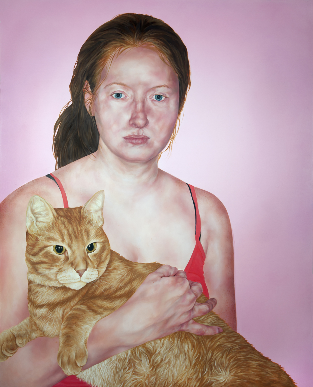 Anna and Cat , 2012, oil on panel, 60x48""