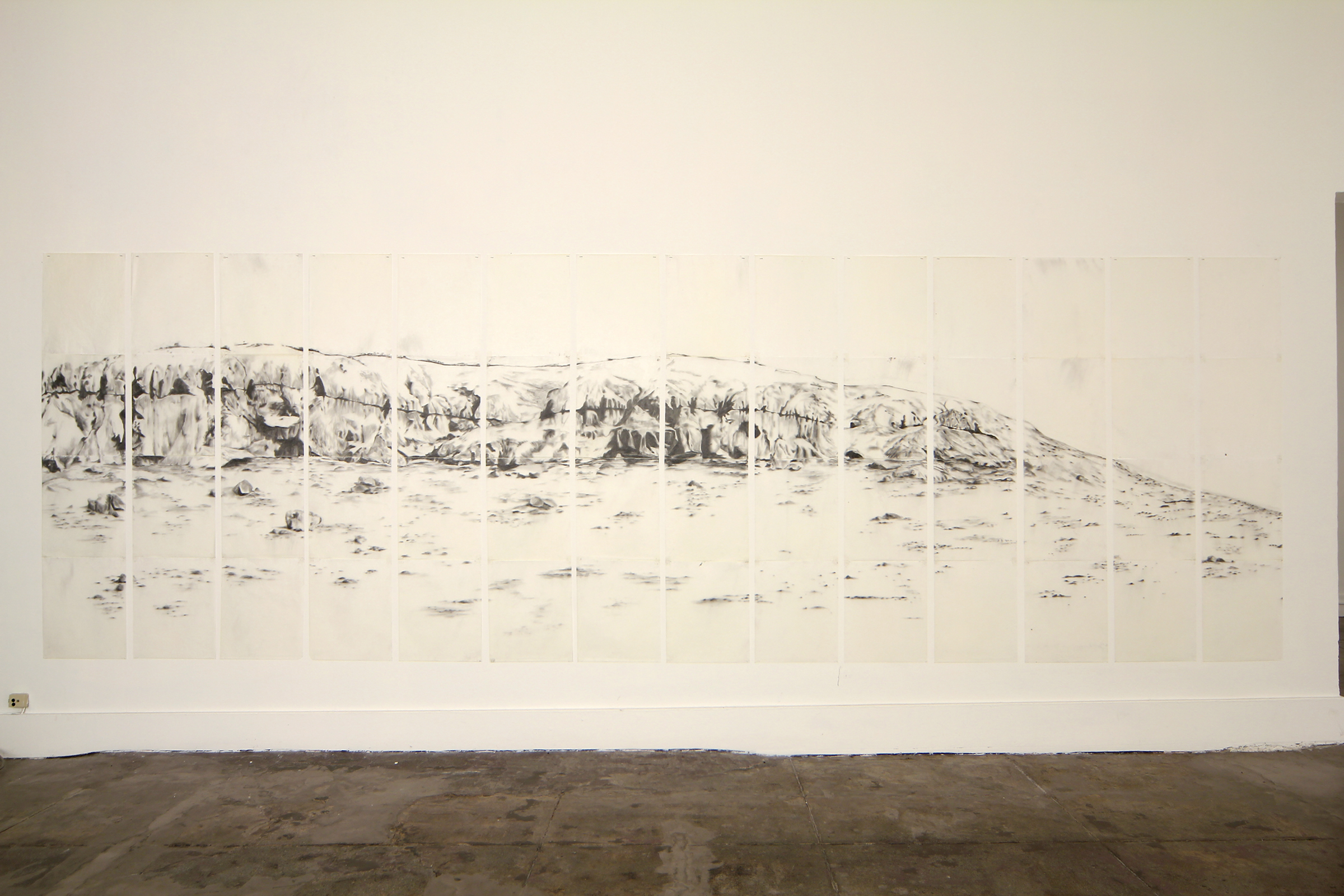 Long Butte, graphite, beeswax on tracing paper