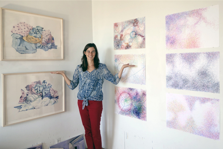 Abby Subak in her studio, photograph by Randy Duchaine