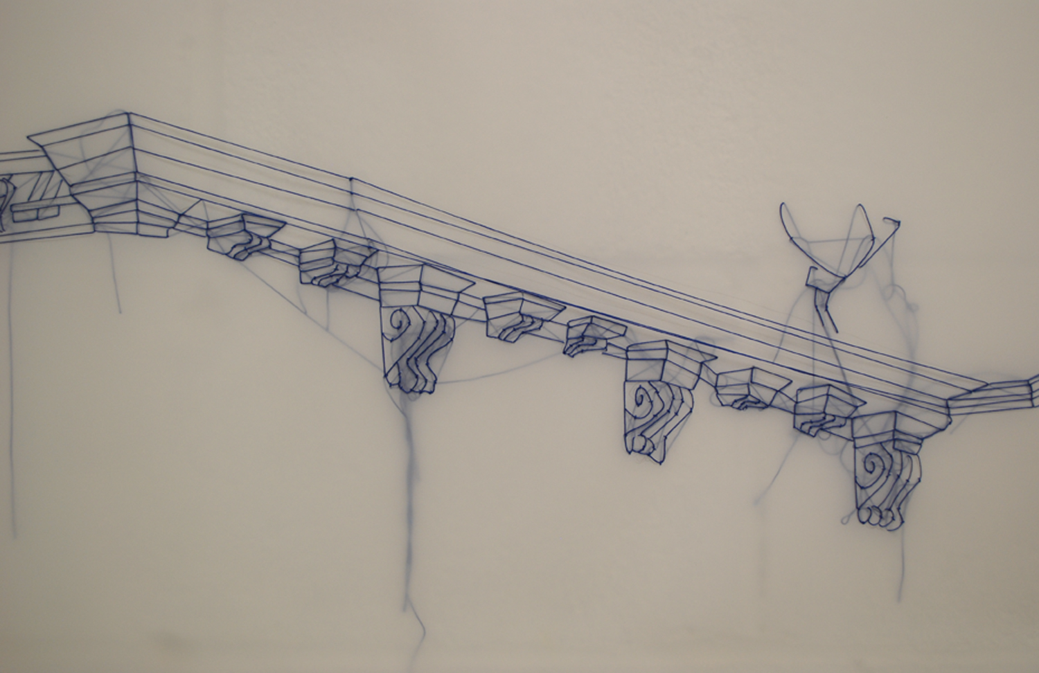 J Carpenter,       the cadence of days (detail) ,   embroidery on dendrite,   40' x 2',   2013