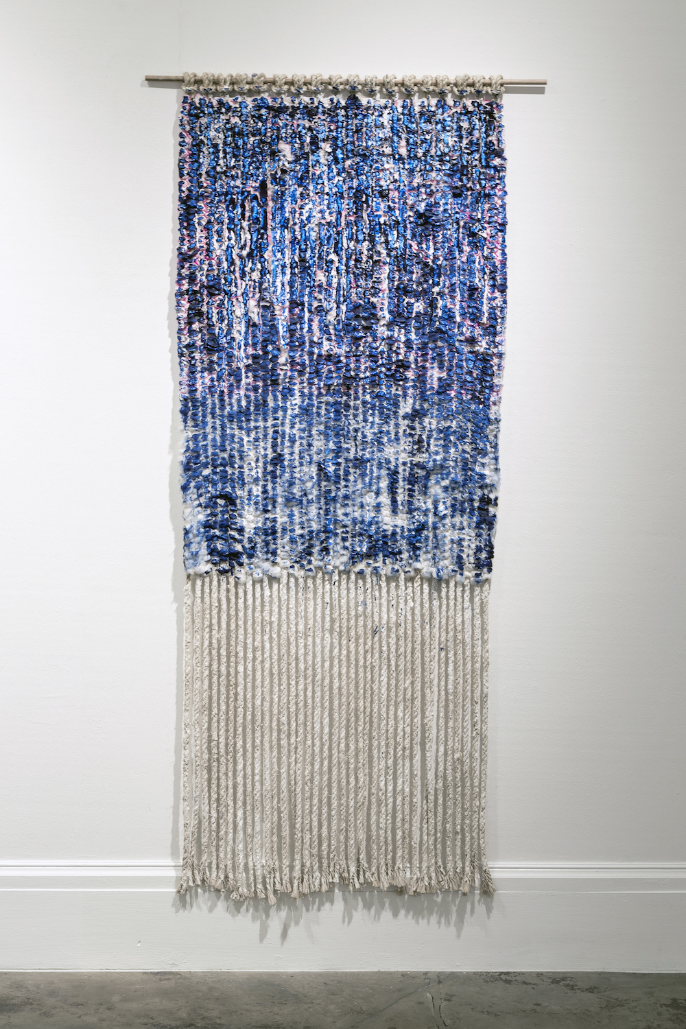 "Liz Robb, Painted Grid, 2014, 36"" x 72"", cotton, jute, plaster, acrylic, wood"