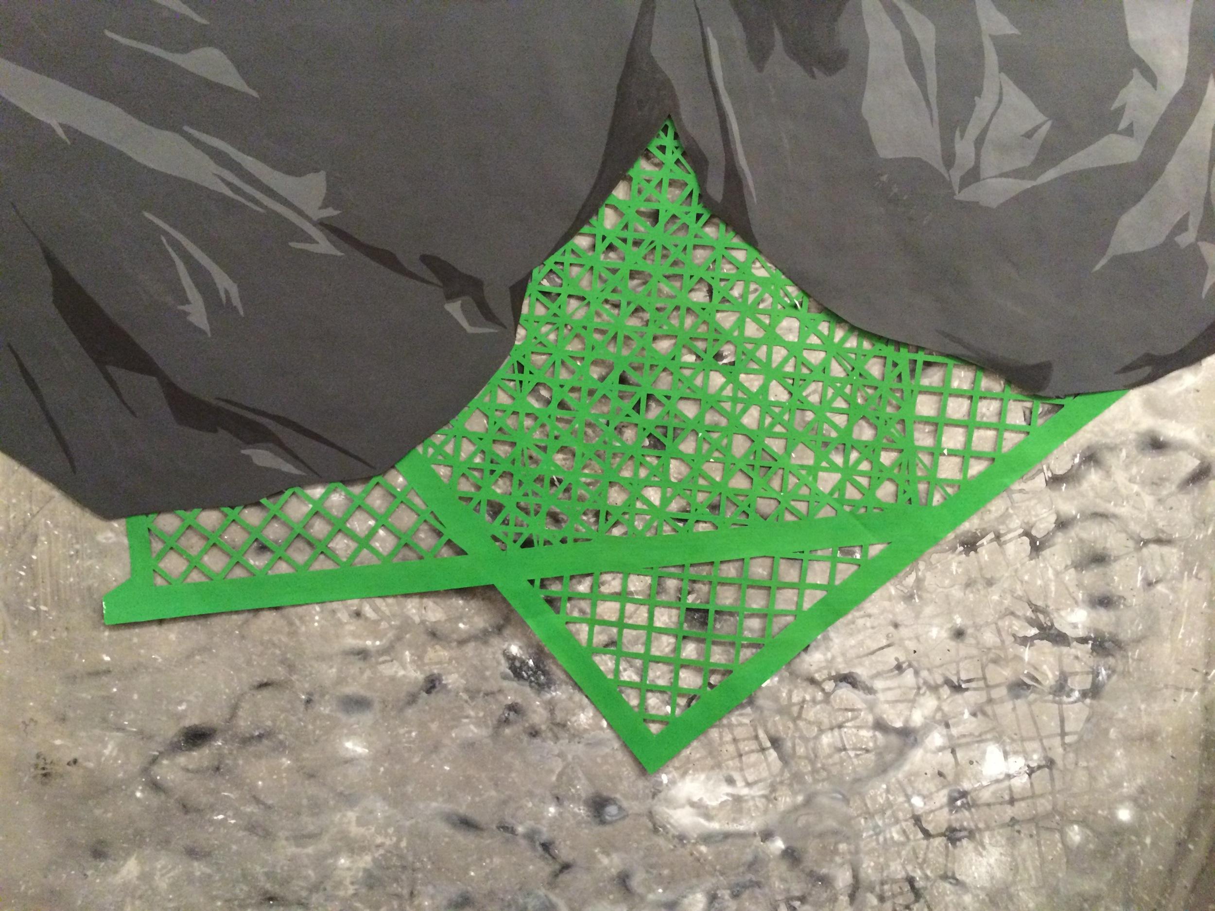 "Green Crates, acrylic on layered Tyvek, 40"" x 60,"" 2015"