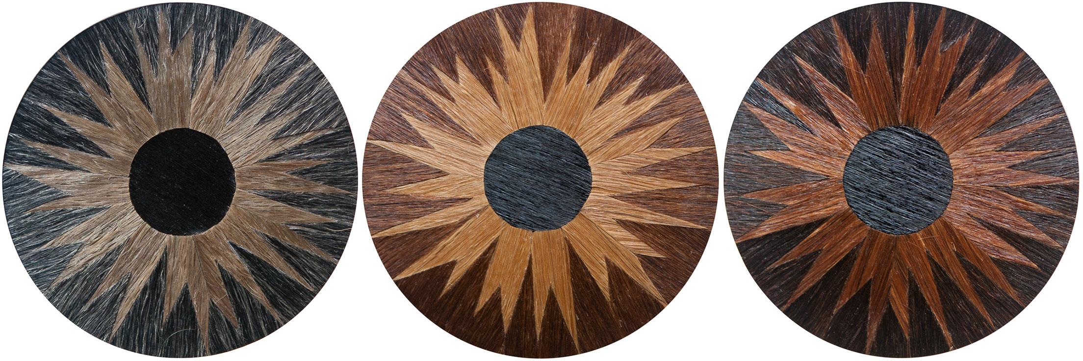"""Blue Eye"" ""Brown Eye"" and ""Dark Brown Eye"" each 4""x4"", human hair and acrylic on paper, 2014."