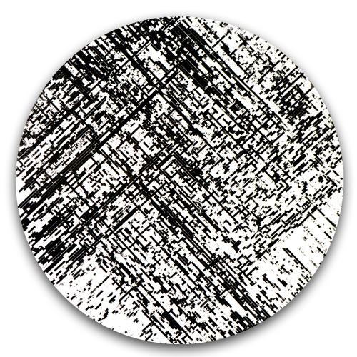 """Decompose"" / magnetic cassette tape coating on panel / 24"" diameter / 2014"