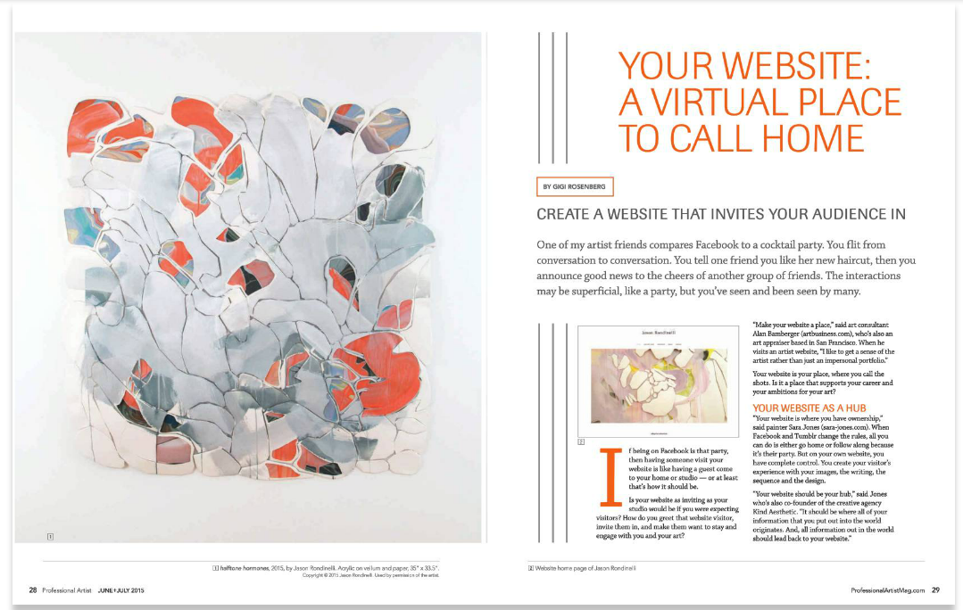 The opening spread of the article, featuring the work and website of former  DELVE Toolkit  client, Jason Rondinelli.