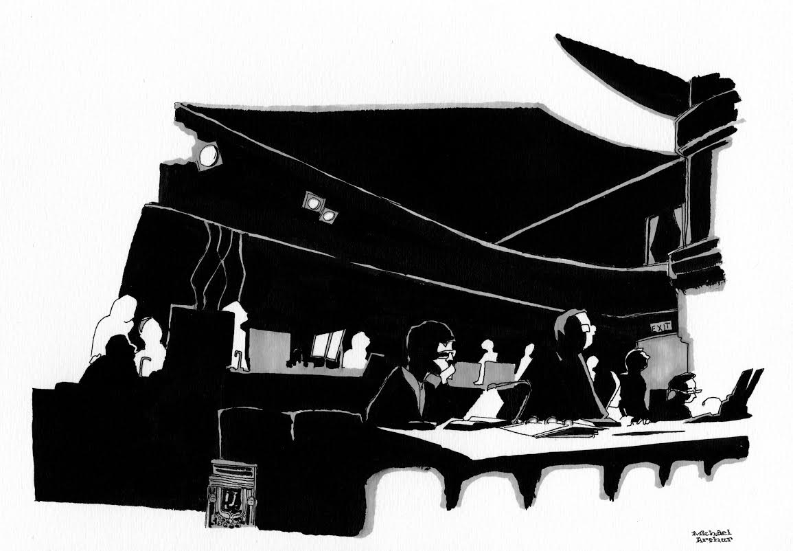 A drawing by Michael Arthur at the   Hedwig tech rehearsal for the New Yorker