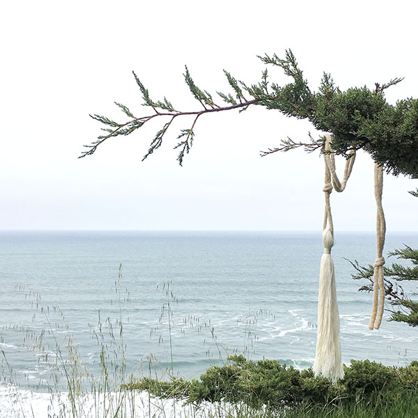 Walking Libraries 03 | Coastal California (2016), site-specific documentation with hand-dyed fiber rope and handmade silk tassel | by Abigail Doan