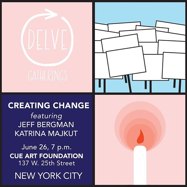 Join us tonight! Art. Activism. Creating Change. We will welcome speakers Jeff Bergman and Katrina Majkut and be surrounded by the powerful exhibition by Sheida Soleimani at CUE Art Foundation. The gathering starts at 7—link in profile to sign up!⠀ ⠀ DELVE Gatherings are rooted in the desire to build a strong, supportive community around art, artists and contemporary issues. The theme we will be exploring this year at each event is Creating Change. Quiet or loud, social practice to solo studio painting, emerging to established, an artist's voice is crucial to highlighting and synthesizing our human experience. We are interested in the critical eye and what it reveals, whether it's a subtle visual pun or a loud, public proclamation. Art that comes from personal experience or a sense of civil responsibility resonates strongly, and has the power to activate society and potentially reimagine its structure.⠀ ⠀ #delveart #creatingchange #jeffbergman #katrinamajkut #cueartfoundation #sheidasoleimani