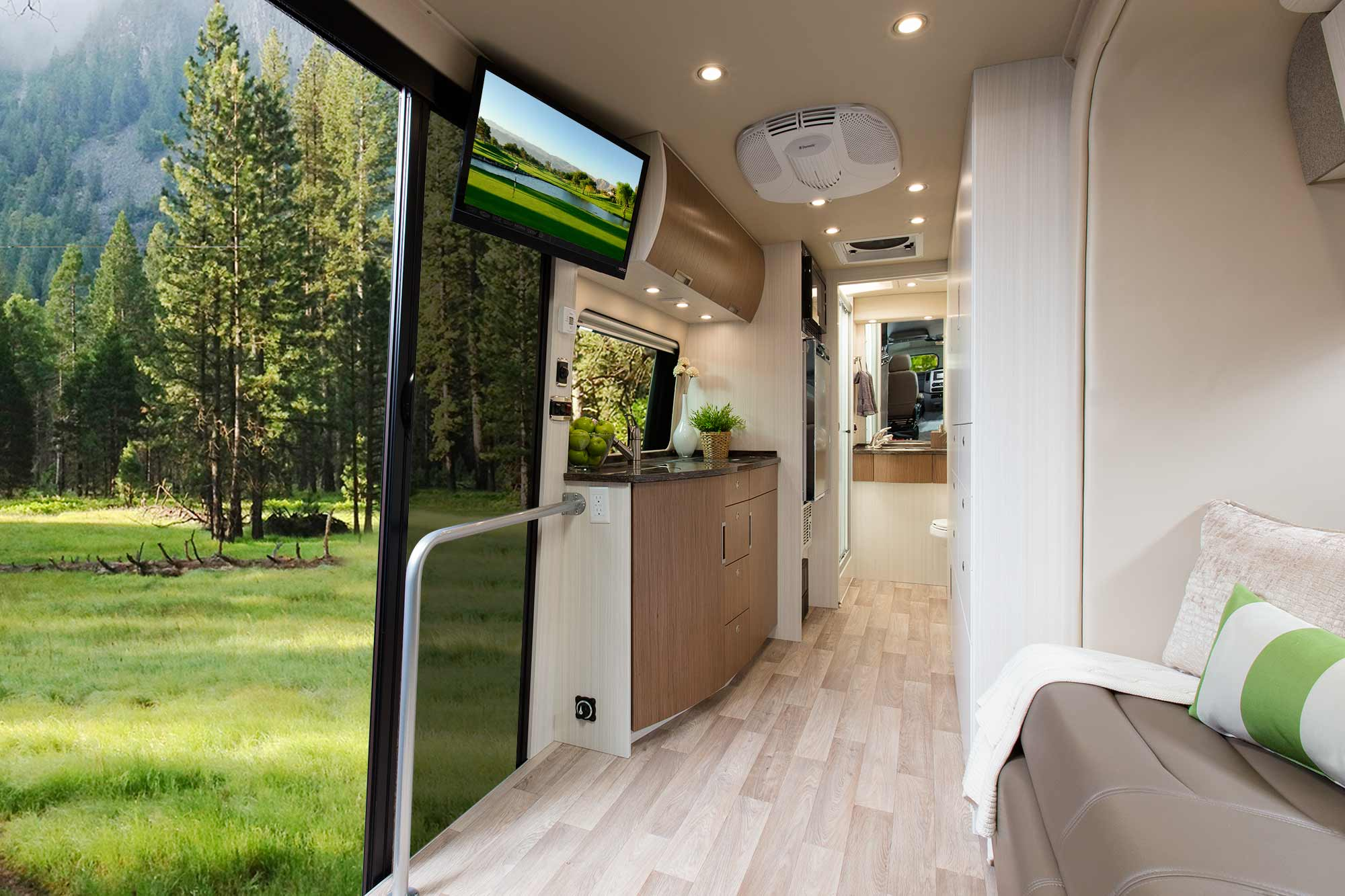 The best view of  any  coach! The BlissRV Mercedes sliding door gives expansive views from the sofa...and bed...and provides an openness that RVs can't recreate. Full-size sliding screen door lets you enjoy nature in comfort.
