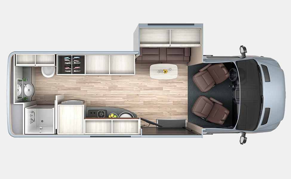 BlissRv's  Free Spirit SS  Floorplan is luxuriously roomy...the slide out affords the perfect balance between luxury and efficiency.