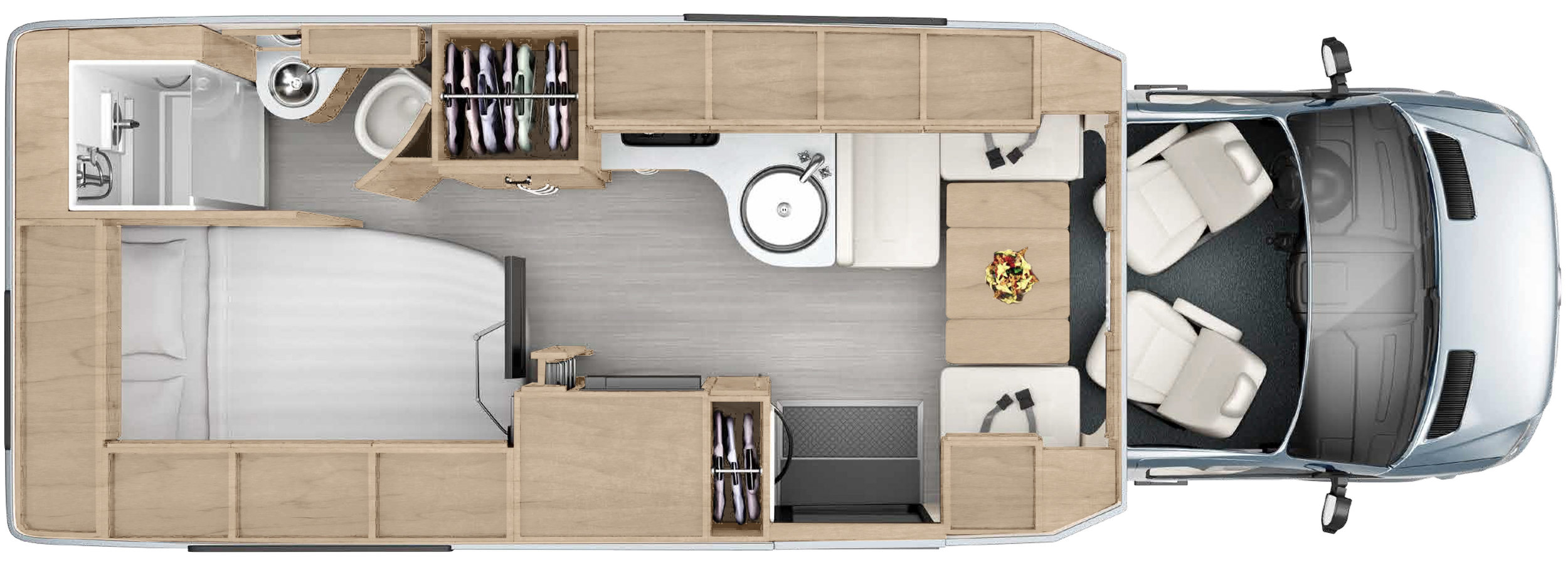 Serenity floor plan. The rear sofa area converts to the comfy private bedroom.