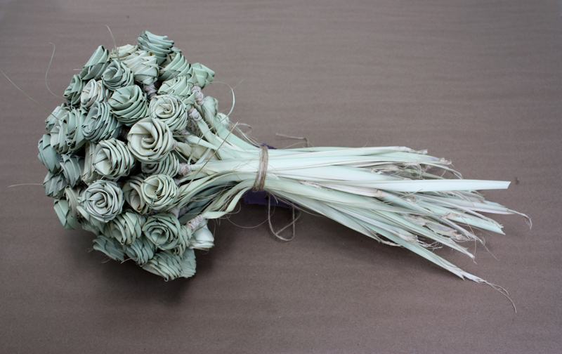 Souvenir Bouquet   |  2015 11 x 11 x 22 in 100 Handwoven Charleston Palmetto Roses $200, $2/rose