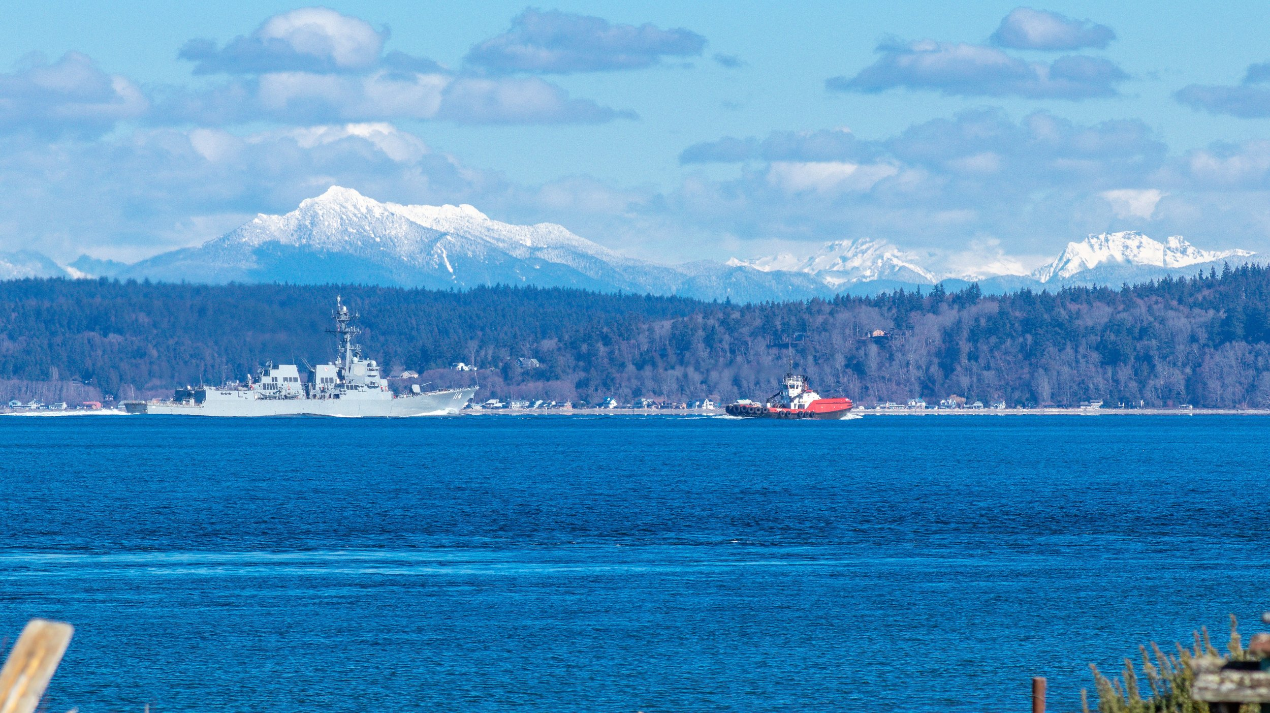 USS    Ralph Johnson  (DDG-114)  on the Puget Sound with the Cascades in the background
