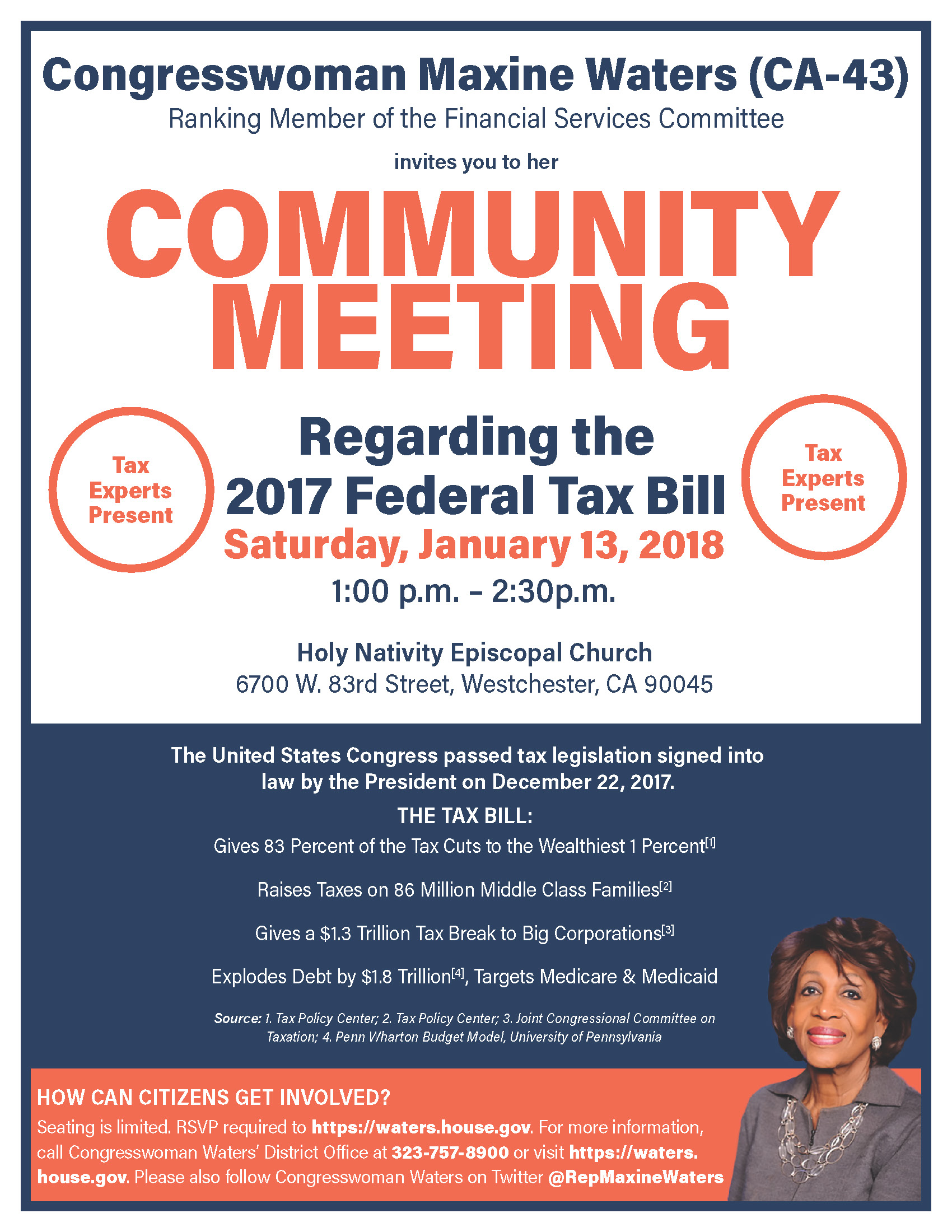 maxine waters tax meeting jan 13