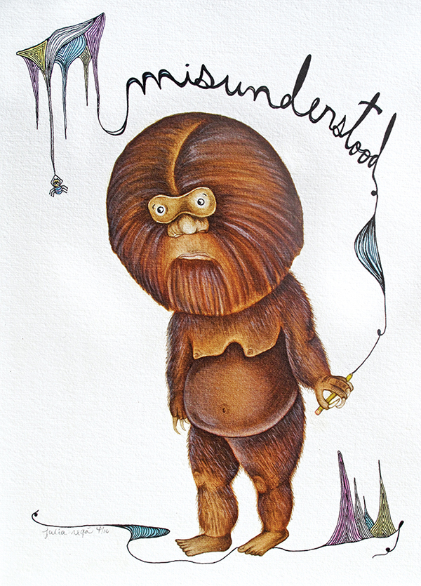 MISUNDERSTOOD YETTI   Watercolor with Pen & Ink