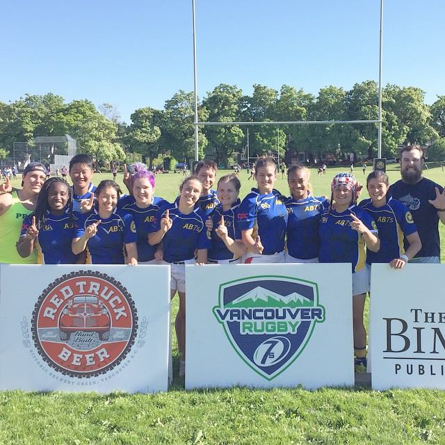 The 2015 Vancouver 7s champs with Head Coach Jake Nelson. Photo by Frances Wehrwein.