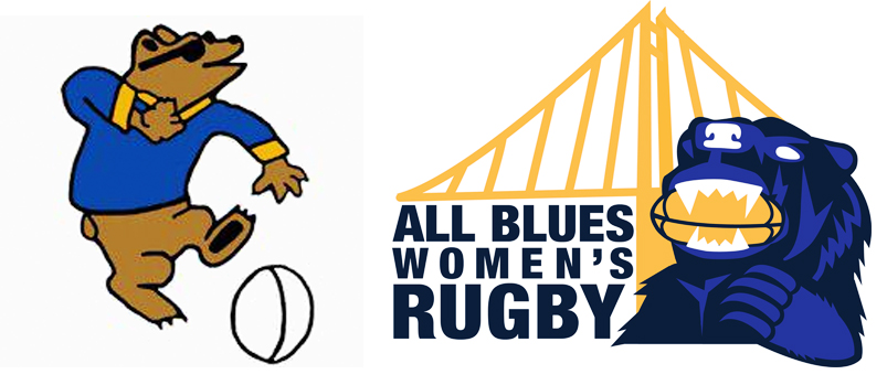 """Old and new team logos. LEFT: The original """"Dancing Bear"""" team logo. RIGHT: New team logo featuring an updated version of the bear and bold lettering, with a rendering of the Bay Bridge in the background."""