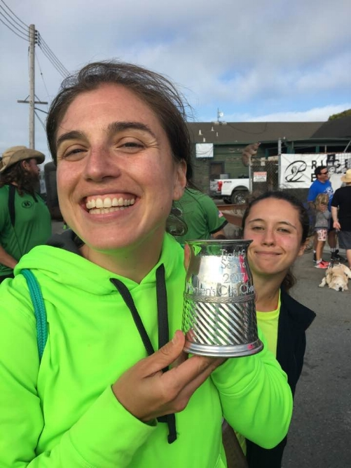 Bosko, all smiles, after the All Blues bagged the championship title at the 2017 Tight 5 Sevens Tournament on Treasure Island (with Alyssa B creepin' in the background).