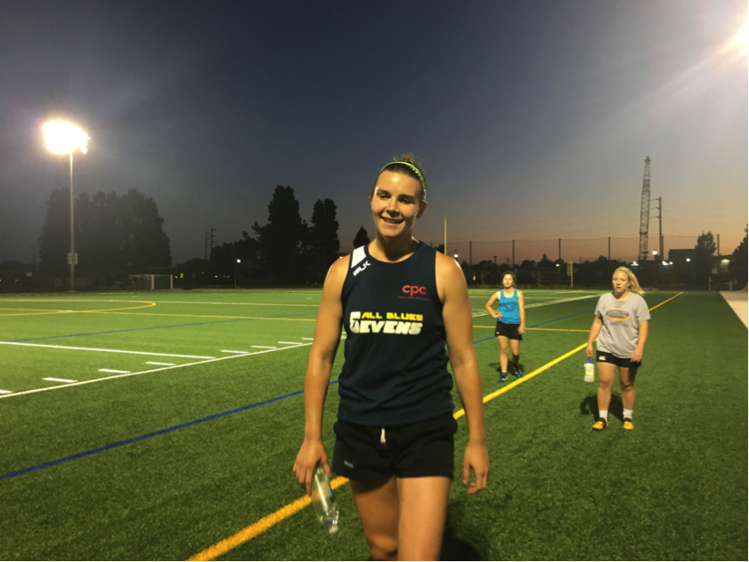 Ceara Lafferty walks off the rugby field at Estuary Park in Alameda after practice ended on June 12. (Photo: Elena Mateus)