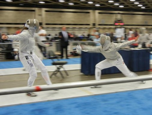 DC fenced saber competitively in high school. Photo: Elena Clark