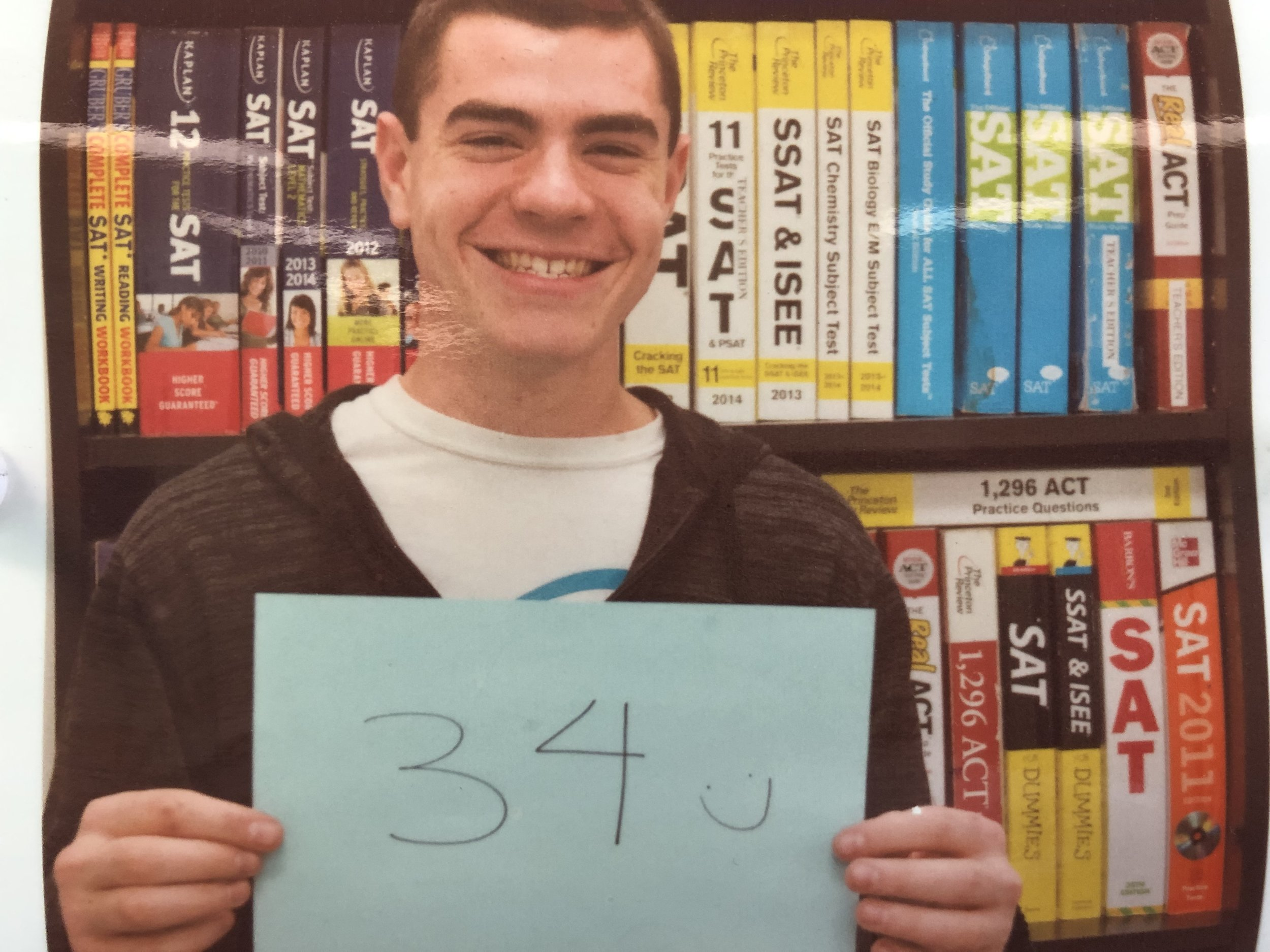 Ian improved from a 28 to a 34. He also went from a 670 to 800 on SAT 2 Math Level 2!