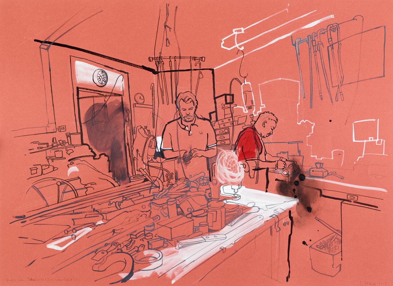 rob & león. james smith & sons, basement workshop