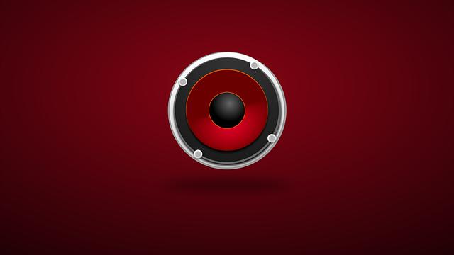 Audio speaker, red background