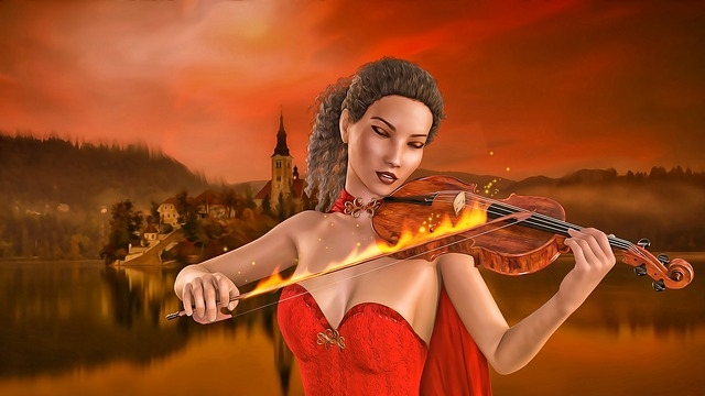 Fantasy scene with female violinist playing the violin with a bow on fire. Gaming image.