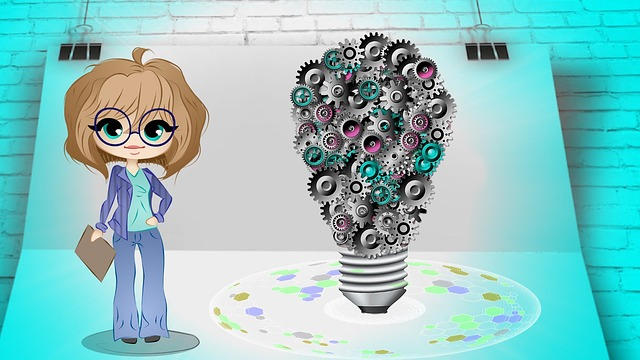 Business woman cartoon-style standing next to a lightbulb made up of cogs