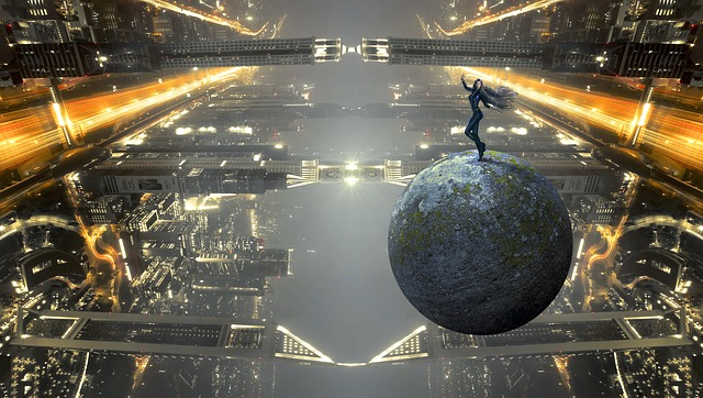 Fantasy, sci-fi, gaming image of girl standing on an earth-like ball crossing a bridge of city towers