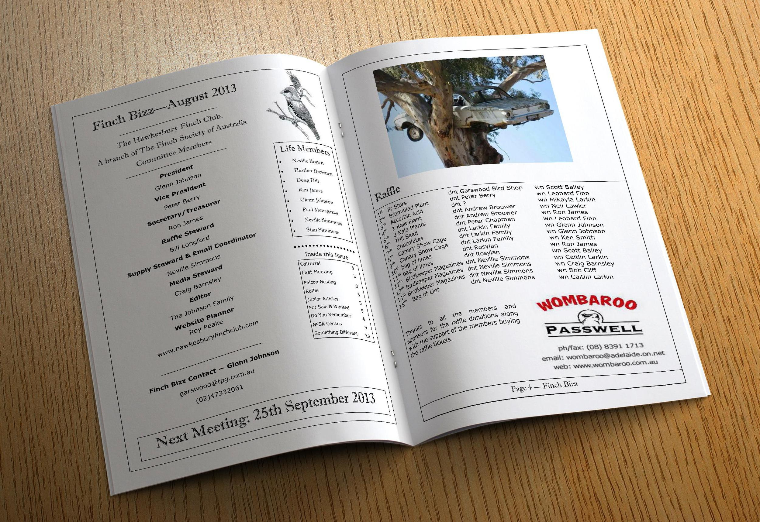 """Example pages from our """"Finch Bizz"""" newsletter"""