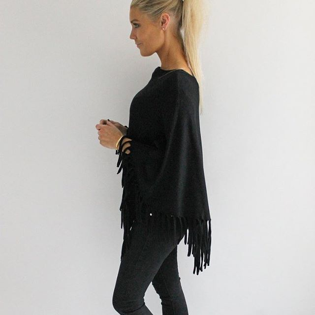 NEW... Black Fringed Poncho (also available in Cream) now online! Tap to shop 💋