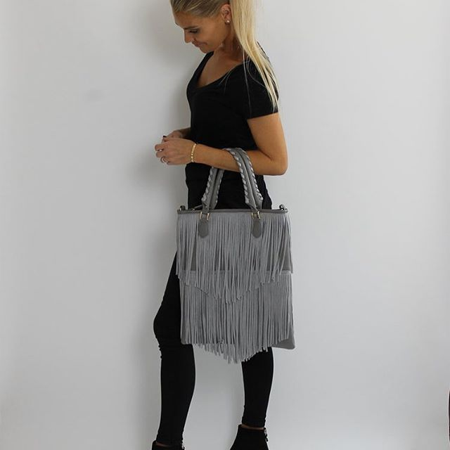 Grey Suede Fringed Bag... now online ✔️