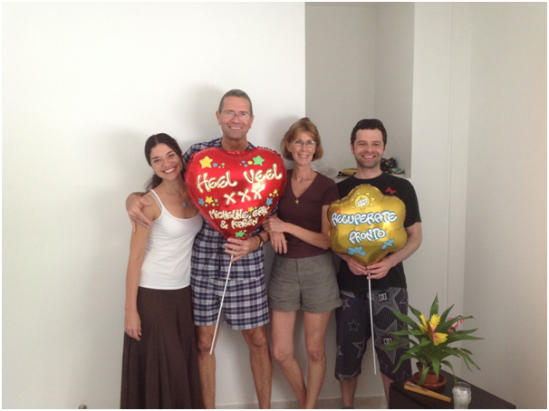 Armand cu casa Micheline y jiunan (di un matrimonio anterior) Erik y Karen