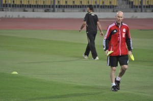 Egyptian National Team Coach Bob Bradley sets up drills during training leading up to a World Cup qualifying clash with Mozambique