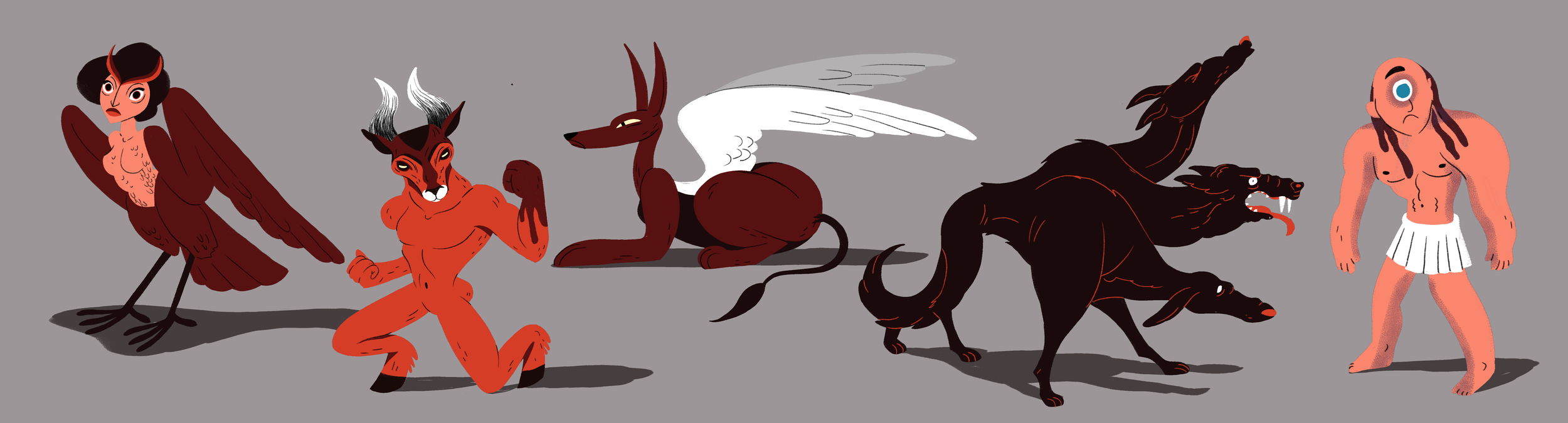 The greek mythology is filled with strange enchanting creatures. Here are a couple of my favourites :) It was really fun to sketch and devellop these designs and I would love to have had more time to animate each one of them.