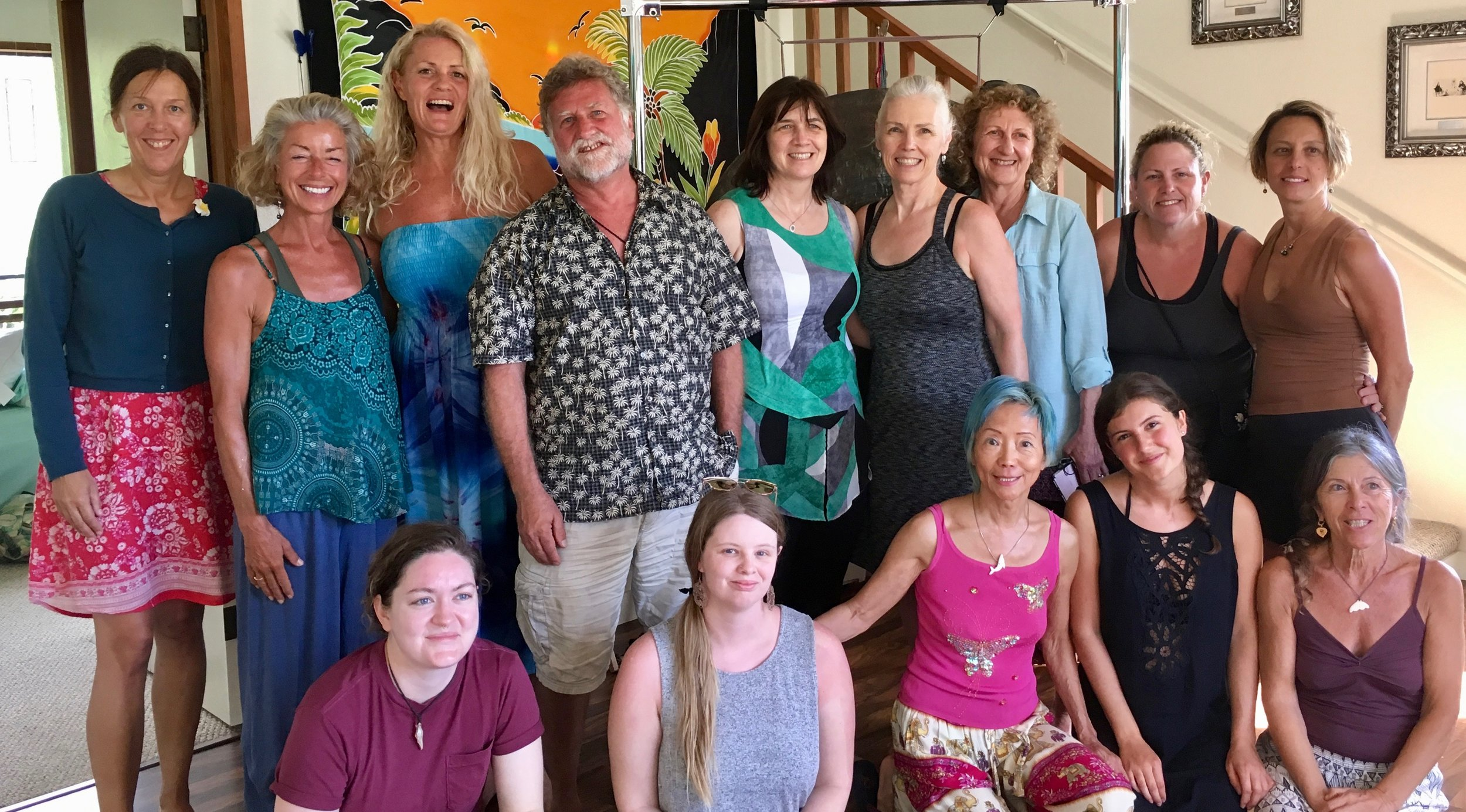 The happy group of gong bathers on march 16, 2019 on the big island, hawaii. i have blue hair :)