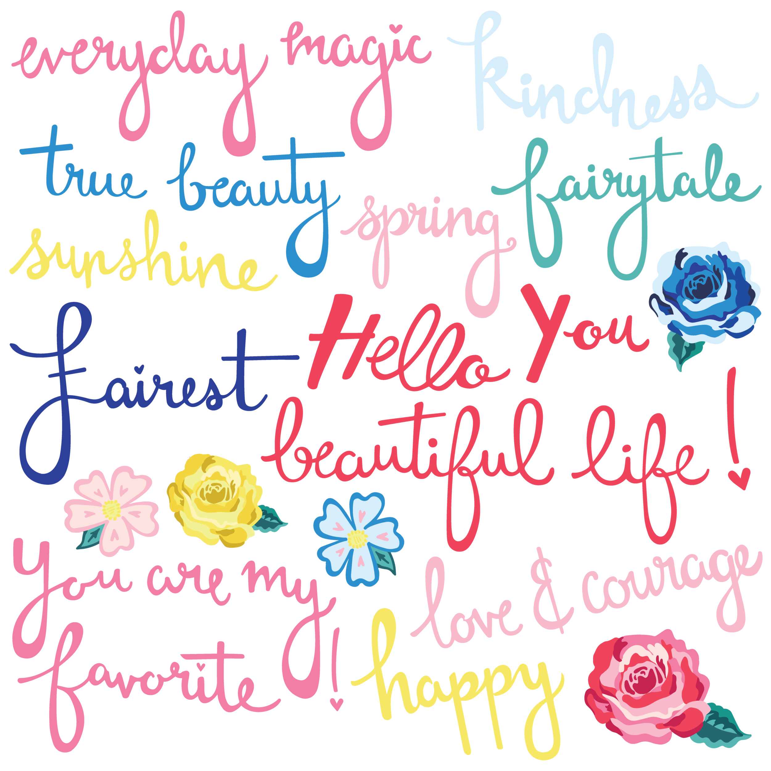 Hello Beautiful Digital Collection - Die Cut Words and Florals.png