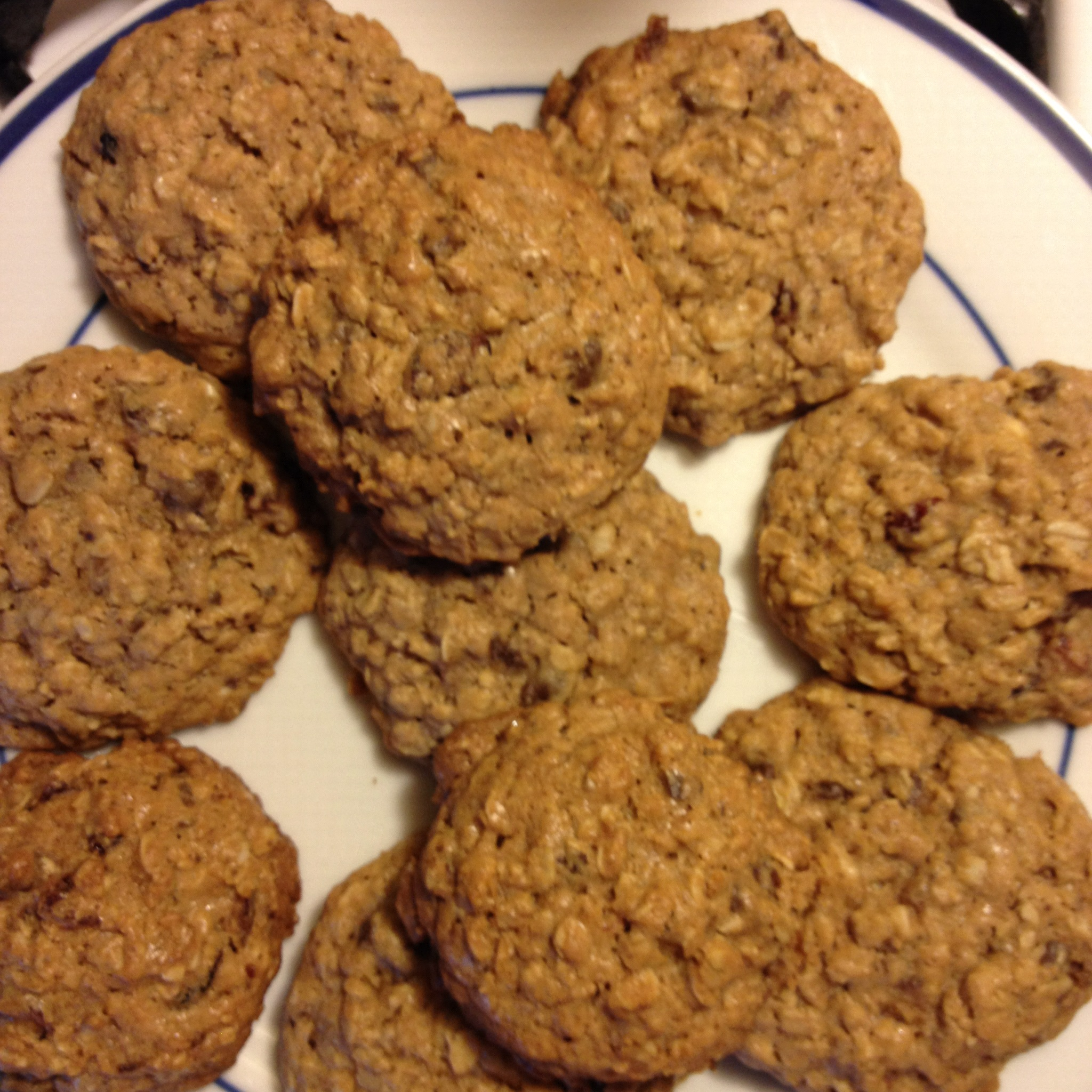 These oatmeal cookies have whole wheat flour, chocolate chips and dried fruit. They're a tasty alternative to granola bars or trail mix.