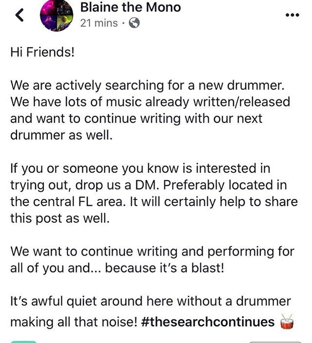 THE SEARCH CONTINUES! We are looking for a drummer! #BLAINETHEMONO
