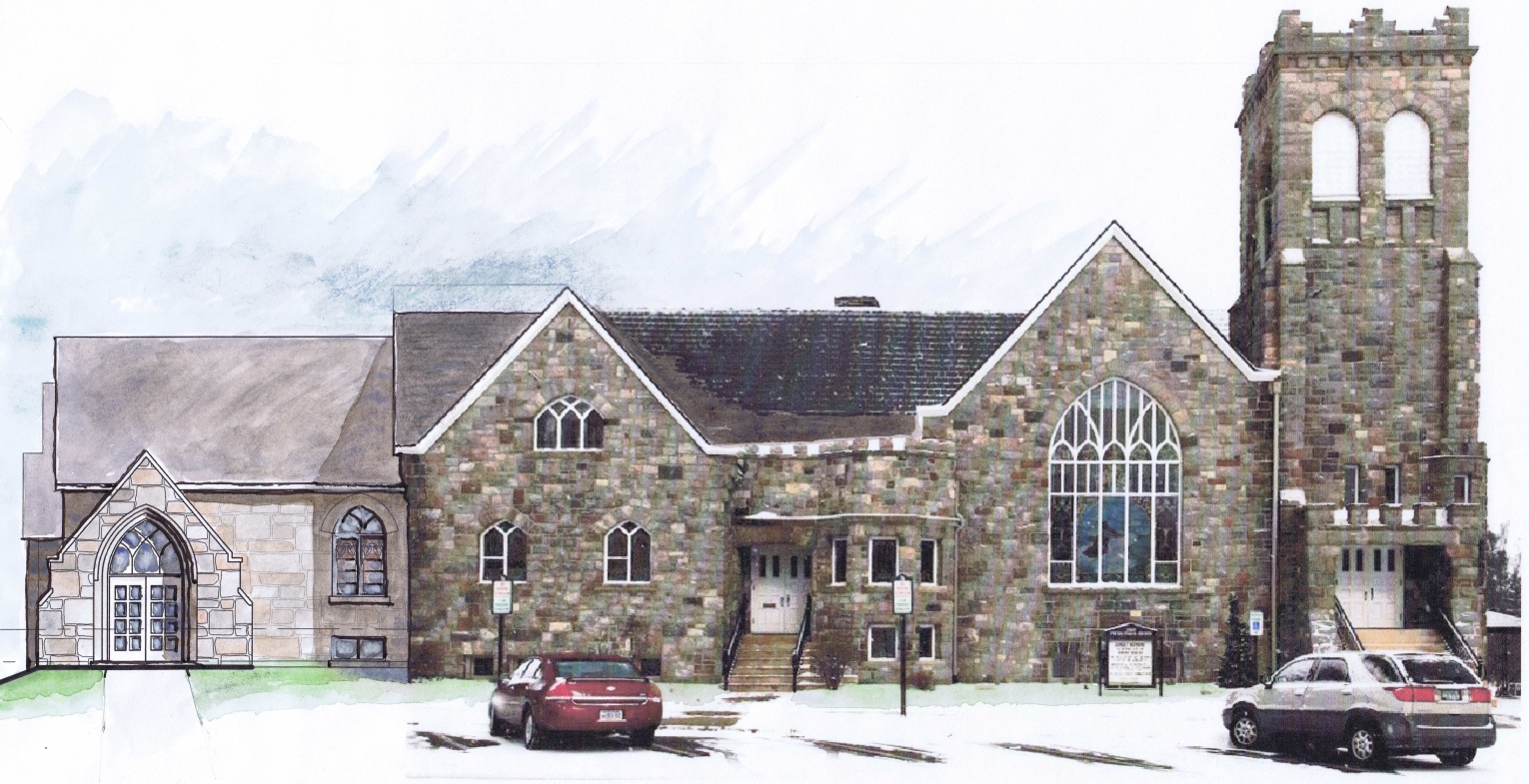 A water color study sketch showing the historic character of the proposed addition. The new entry, shown to the left, will include the relocation of an existing limestone archway.